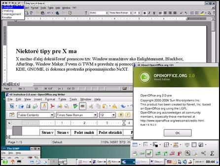 Obrázek: Linux SuSE 9.3 Professional, v ňom Microsoft Word 2000 a upravená verzia OpenOffice.org od Novellu vytvára dojem, že nie Windows, ale Microsoft je už zbytočný.