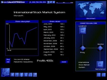 Obrázek: Akciový trh v hre Uplink, vpravo analýza pripojenia