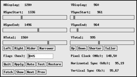 Okno utility xvidtune