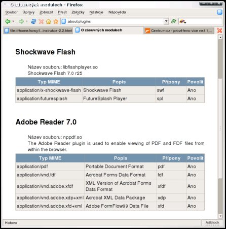 Obrázek: Ukázka stránky about:plugins