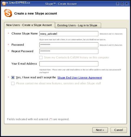 Obrázek: Registrace nového uživatele