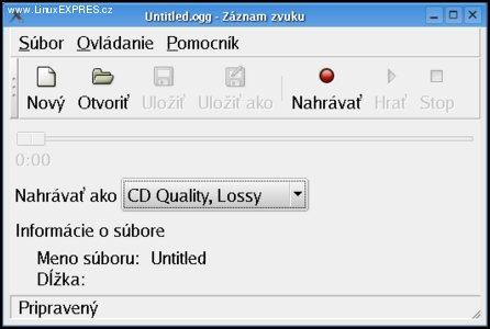 Obrázek: Veľmi jednoduché grafické rozhranie programu Gnome Sound Recorder