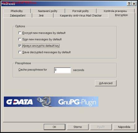 Obrázek: Konfigurační záložka GnuPG-Pluginu
