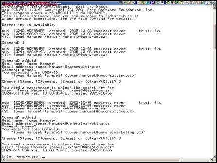 Obrázek: Použití GnuPG v příkazové řádce