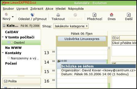 Obrázek: Rozhraní kalendáře pod taktovkou knihovny Cairo