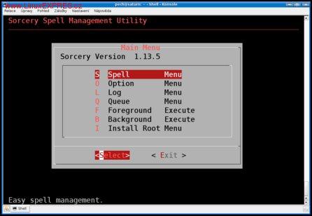 Obrázek:Sorcery – administrační nástroj systému
