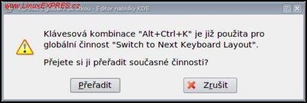 Obrázek: Výběr klávesové zkratky