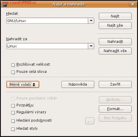 Obrázek: Dialog pro vyhledávání a náhradu textu