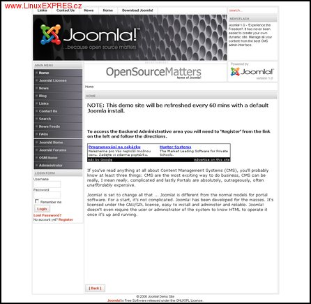 Obrázek: Uživatelské rozhraní Joomla! 1.0.11
