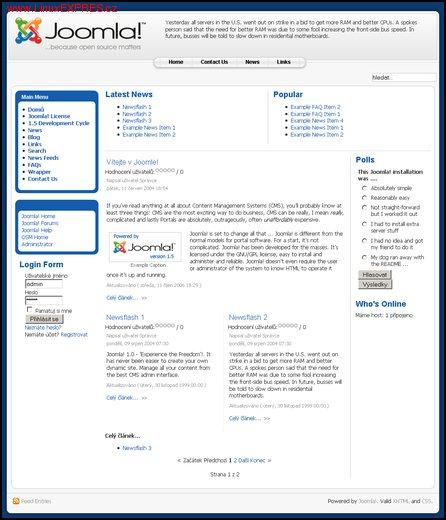 Obrázek: Výchozí uživatelské rozhraní Joomla! 1.5 beta