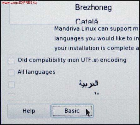 Obrázek: Volba jazyka
