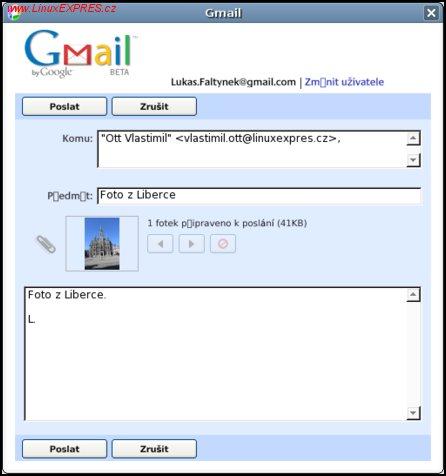 Obrázek: Odeslání fotografie e-mailem