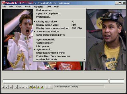 Obrázek: Hlavní okno VirtualDubu s nabídkou Options