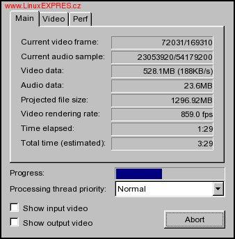 Obrázek: Informativní okno při ukládání videa