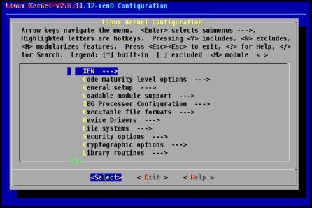 Obrázek: Konfigurační menu jádra pro architekturu Xen