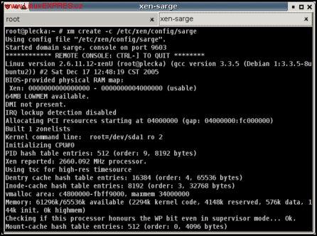 Obrázek: Debian Sarge bootující v domU