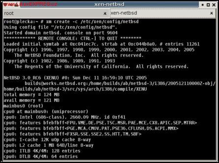 Obrázek: NetBSD bootující v domU