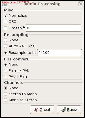Obrázek: Okno pro nastavení zvukových filtrů