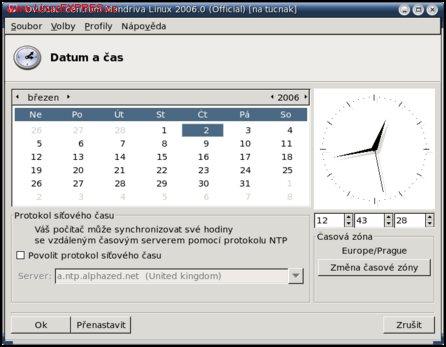 Obrázek: Nastavení času v Mandriva Linuxu