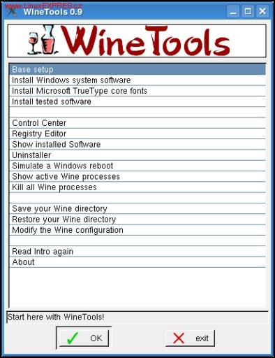 Obrázek: Ovládací okno WineTools