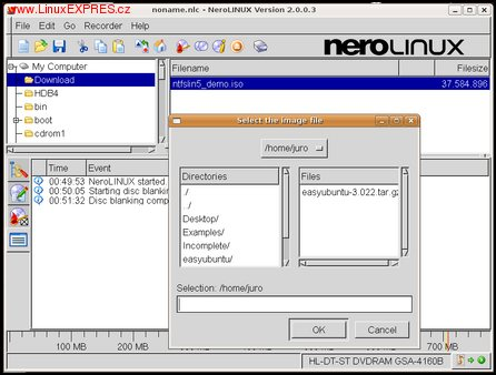 NeroLINUX, v ktorom obraz CD napálite ako image file