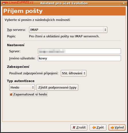 Obrázek: Nastavení připojení k IMAP serveru