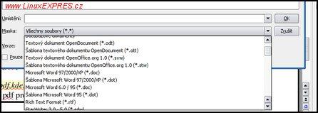 Obrázek: Možnosti uložení v OpenOffice.org Writer