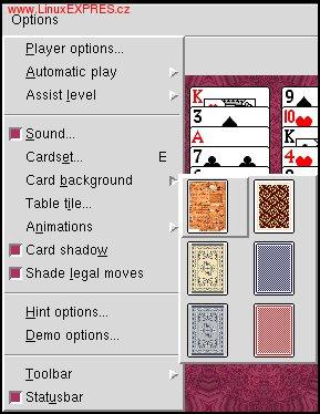 Obrázek: Nastavenia pozadia kariet