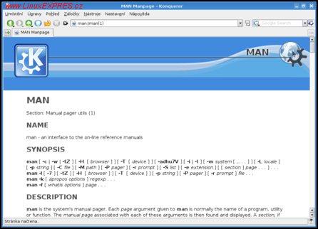 Obrázek:Prohlížení manuálových stránek v Konqueroru