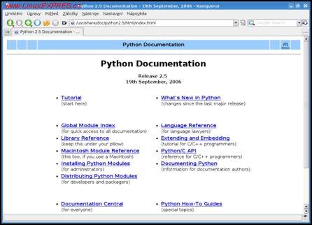Obrázek: Lokálně instalovaná dokumentace jazyka Python 2.5
