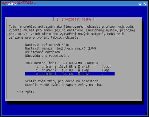 Obrázek:Celkové rozdělení disku