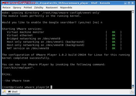 Obrázek: VMware Player – konfigurace