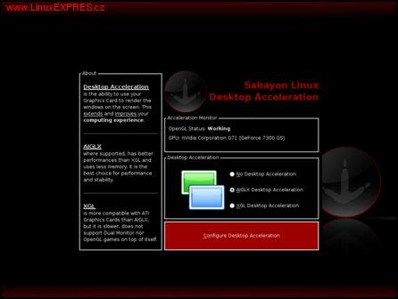 Obrázek:Výběr akcelerace desktopu