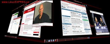 Obrázek: Efekt rotující krychle na dvou monitorech