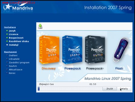Obrázek: Průběh instalace – informace o různých verzích