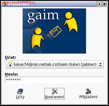 Gaim - přihlášení