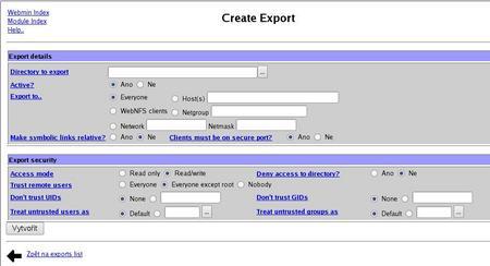 Exportování adresářů v NFS