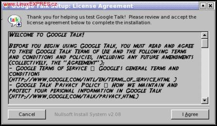Instalace Google Talku pod OS Linux - krok 2