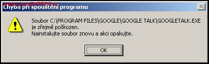 Výsledek instalace Google Talku pod OS Windows 98 SE