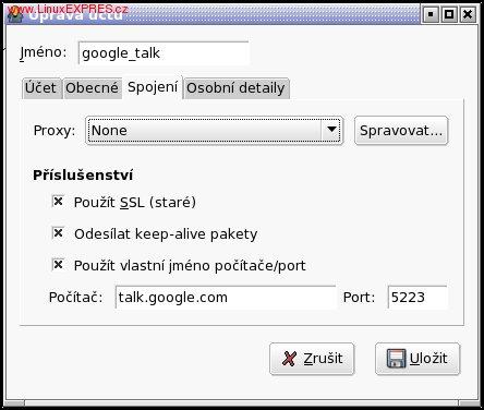 Nastavení spojení pro připojení ke Google Talku z Gajimu