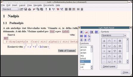 Obrázek 3: Pokusný soubor s matematickým panelem