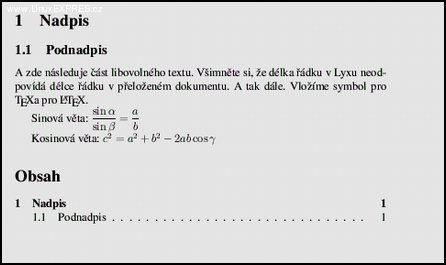 Obrázek 4: Předchozí dokument přeložený do DVI