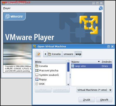 Obrázek: VMware Player – otevření virtuálního stroje